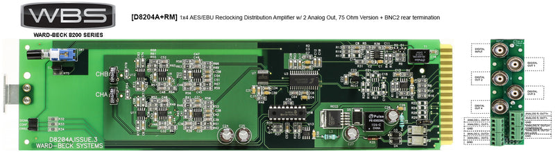 D8204A+RM 8200 Series AES/EBU Reclocking DA w/ Analog Out