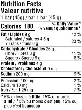 Nutritional facts table for the peanut butter sea salt granola bar