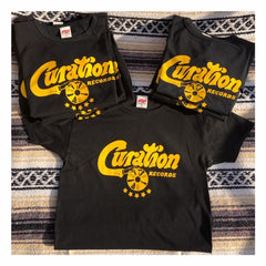 Curation Script Logo Tee - Black & Gold - Curation Records (4365140426834)