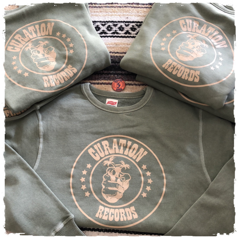 Curation Records - Original Circle Logo - Olive Sweatshirt (4708859347026)