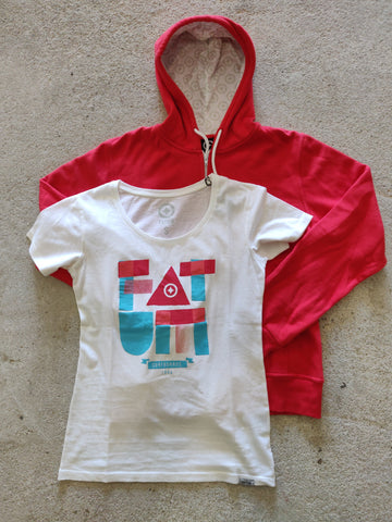 Women Fat Letter Tee and Surf Check in Chilli for 50 bucks.