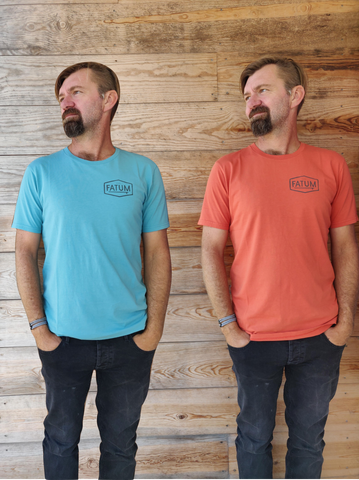 One Fatum Chest Print Tee in Orange and one in Blue. Boith for 30 euros.