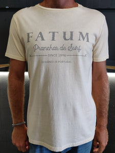 "2020 Fishing Tee in Cream from Fatum.  Model is wearing an L and is 186cm tall at 85kg. (6'1"" and 14 st)"