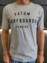 "Load image into Gallery viewer, Fatum Stamp Tee in Grey.  Model is wearing an L and is 186cm tall at 85kg. (6'1"" and 14 st)"