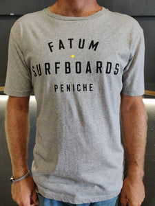 "Fatum Stamp Tee in Grey.  Model is wearing an L and is 186cm tall at 85kg. (6'1"" and 14 st)"