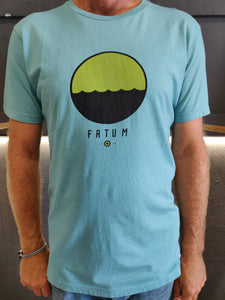 "2020 Fatum Telescope Tee in Sea Blue.  Model is wearing an L and is 186cm tall at 85kg. (6'1"" and 14 st)"