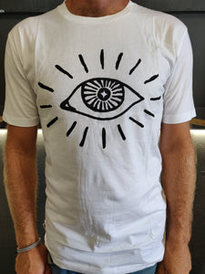 "Fatum Eye tee in White. Model is wearing an L and is 186cm tall at 85kg. (6'1"" and 14 st)"