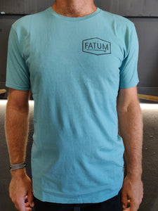 Fatum Chest Print Tee in Light Blue. Model is wearing an L and is 186cm and 86kg.