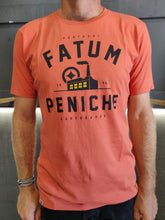 Load image into Gallery viewer, Fatum Factory Tee in Orange. Model is wearing an L and is 186cm and 86kg.