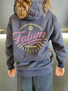 Fatum Ladies Sunrise Hoodie in Navy. Model is wearing an S and is 164cm tall and 50kgs.