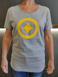Fatum Womens Lone Star T-Shirt - Grey and Gold