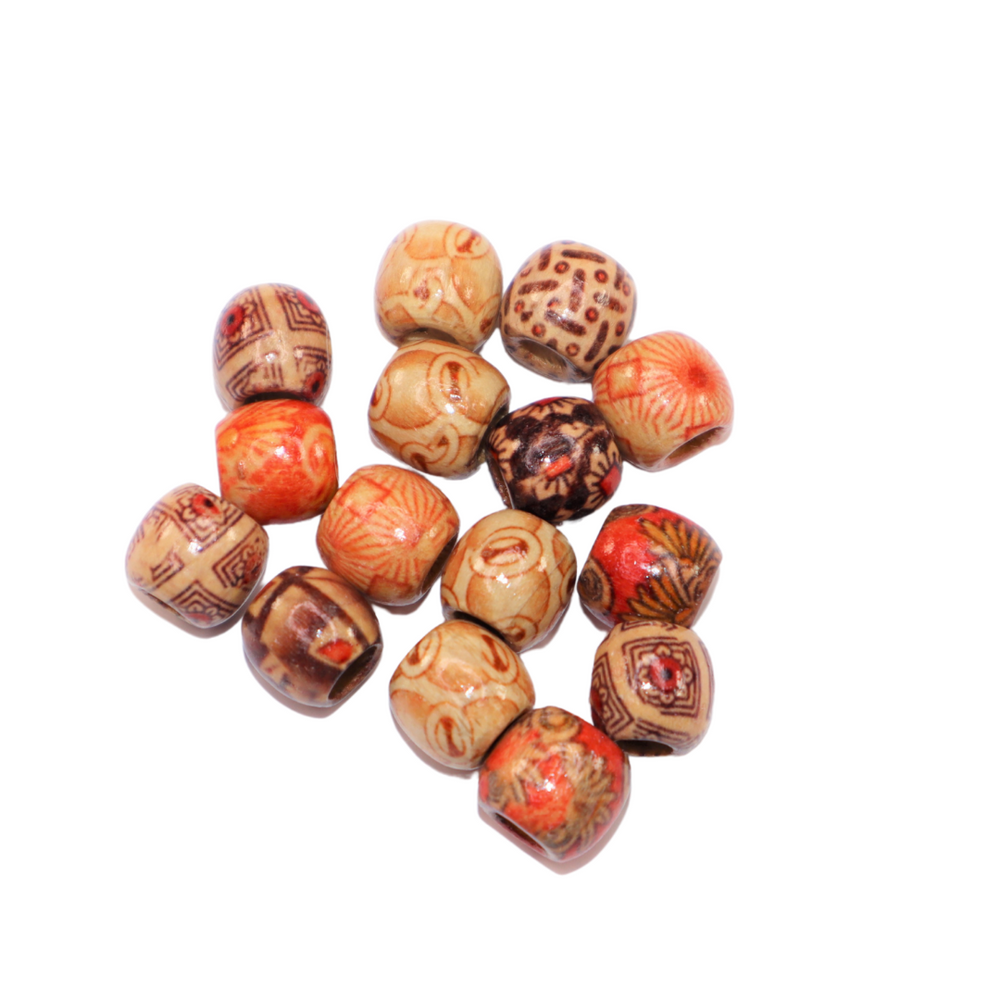 Hand-Painted Wooden Beads Loc Jewelry Set