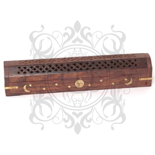 Wooden Moon & Stars Incense Burner Box