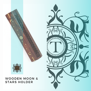 Wooden Moon & Stars Incense Holder