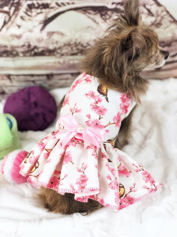 Dog Dress Harness Floral Birds with removable bow