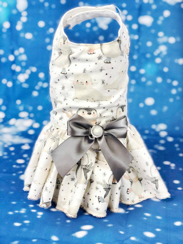 Dog Dress Harness Cute baby penguin & seals dress with removable bow