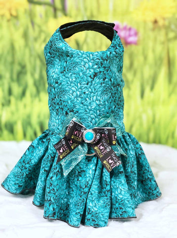 Dog Cat  Harness Teal Floral Dress