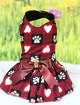 Dog Dress Harness Red & Black Checkered Paws & Hearts Valentine Dress