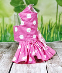Dog Cat  Harness Pink with White Dots Dress