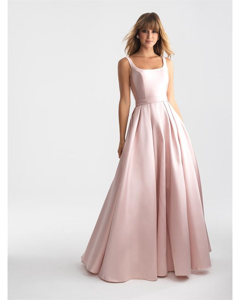 Blush Boat Neck Mikado Ballgown Dress