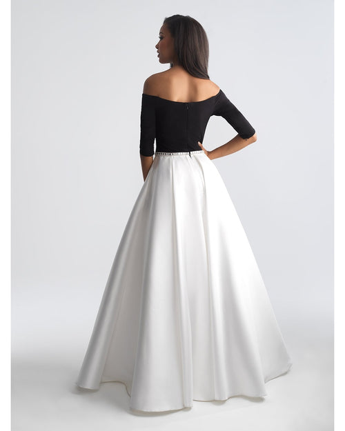 Black/White Off the Shoulder 3/4 Sleeve Ballgown