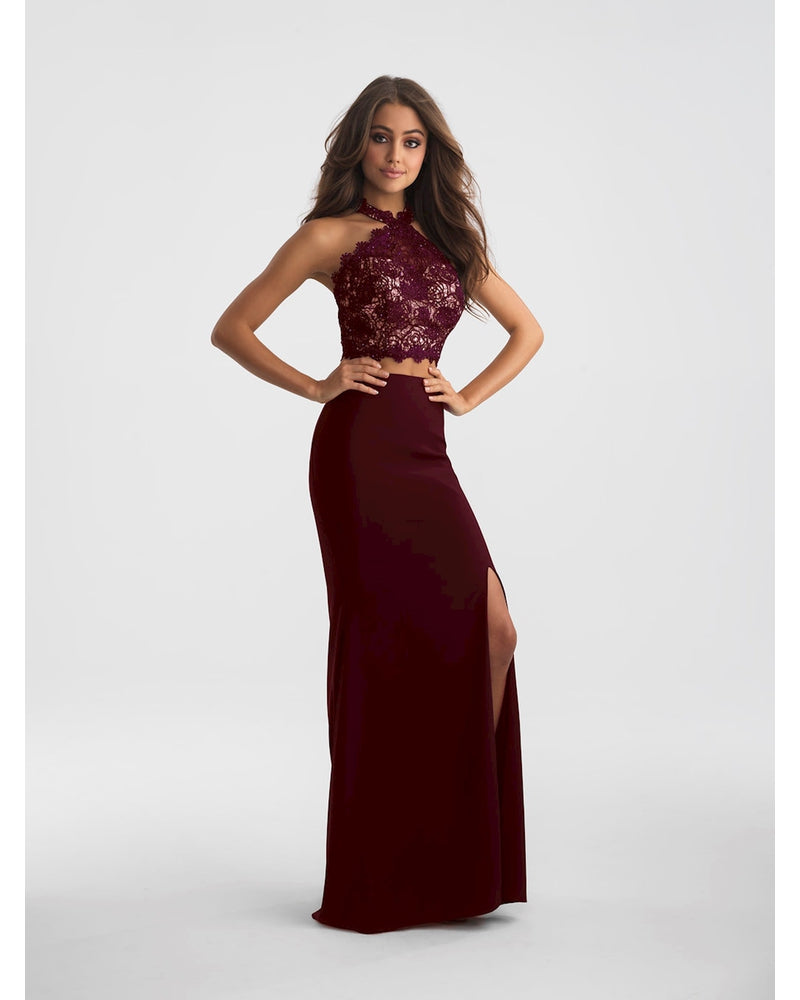 Wine Two Piece Lace with Slit