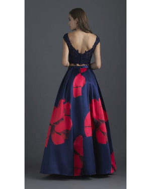 Navy Two Piece Floral Ballgown