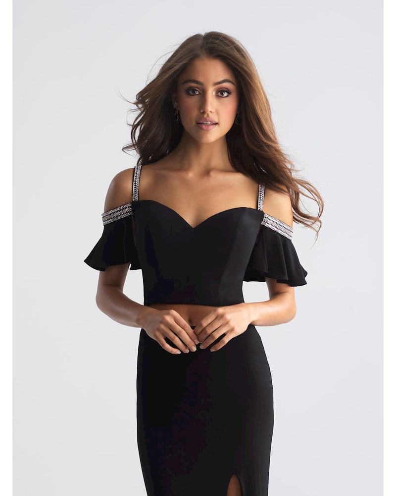 Black Two Piece Jersey with Slit
