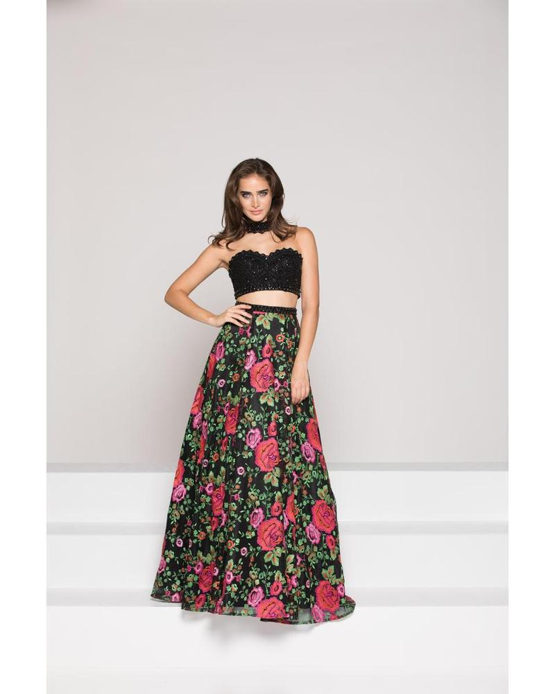 Two Piece Floral A-Line Dress