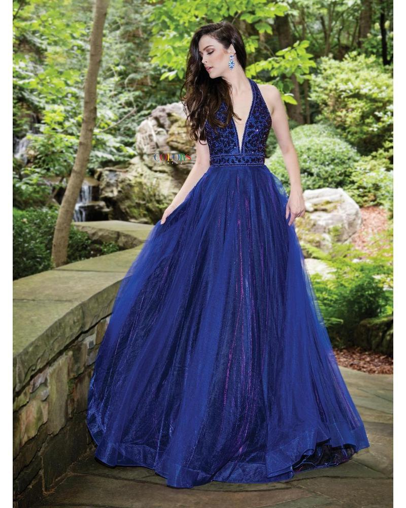 Royal/Purple Halter Ballgown