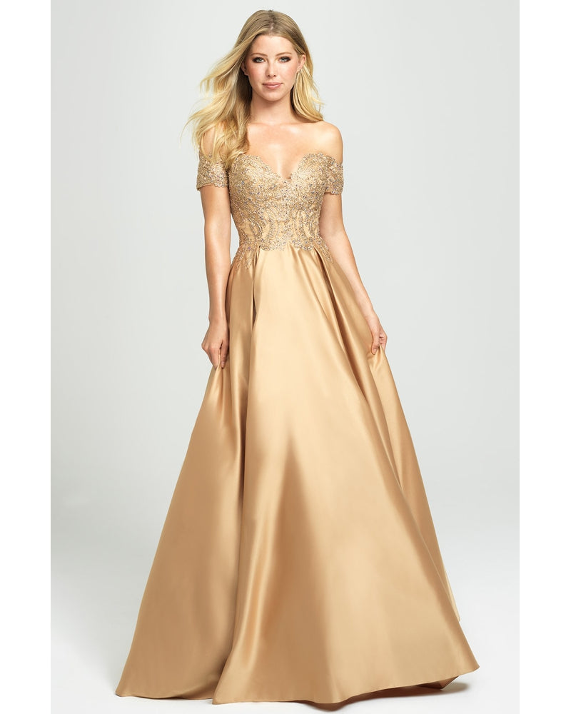 Gold Off Shoulder Ballgown