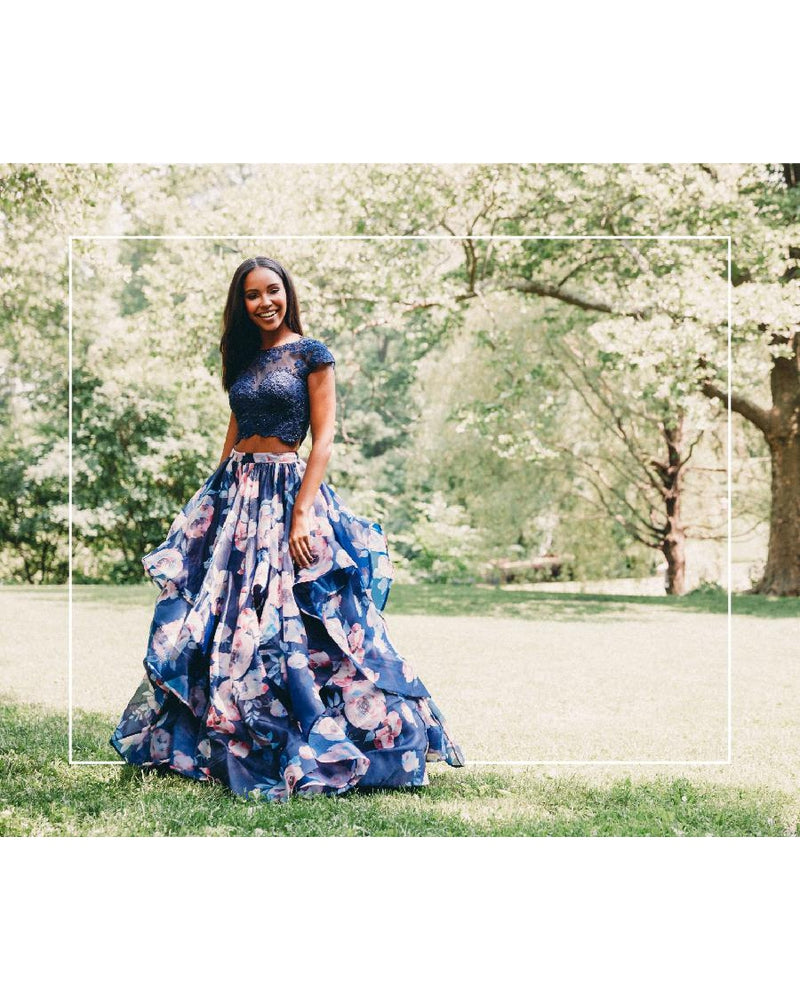 Navy Two Piece Ballgown Dress