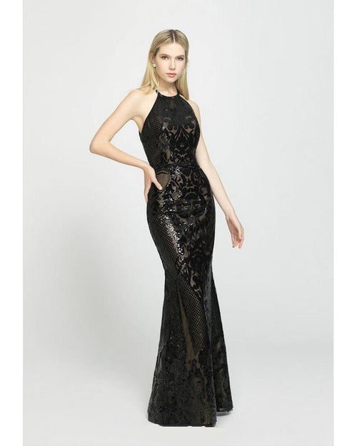 Black One Piece Sequin Dress