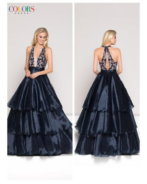 Navy V-Neck Tiered Ballgown