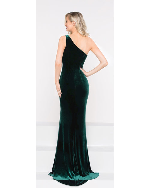 Black One Shoulder Velvet