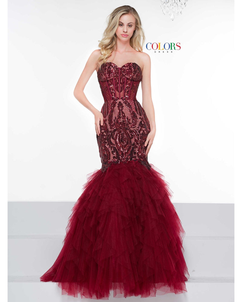 Burgundy Strapless Mermaid