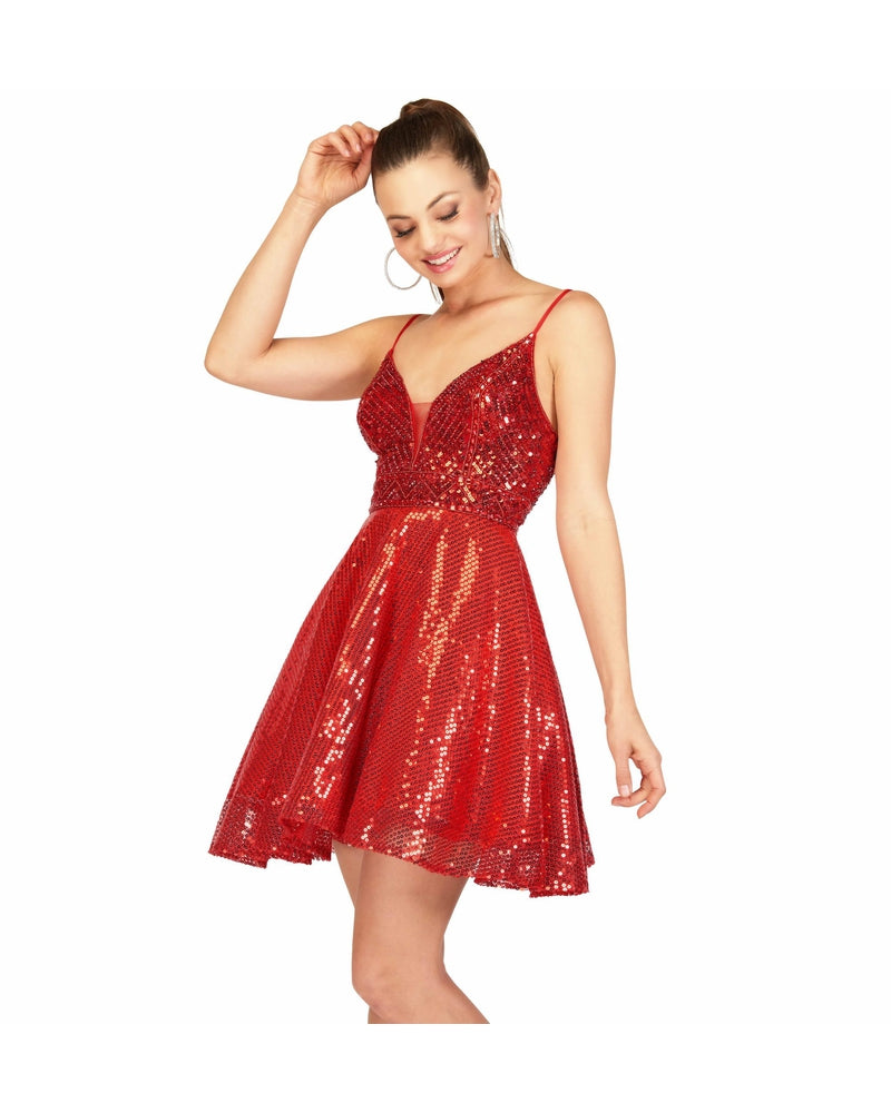 Red One Piece Short Sequin Dress