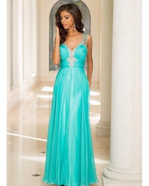 Dark Aqua Flowy Dress with Corset