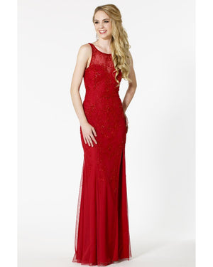 Cherry Long Dress with Slit