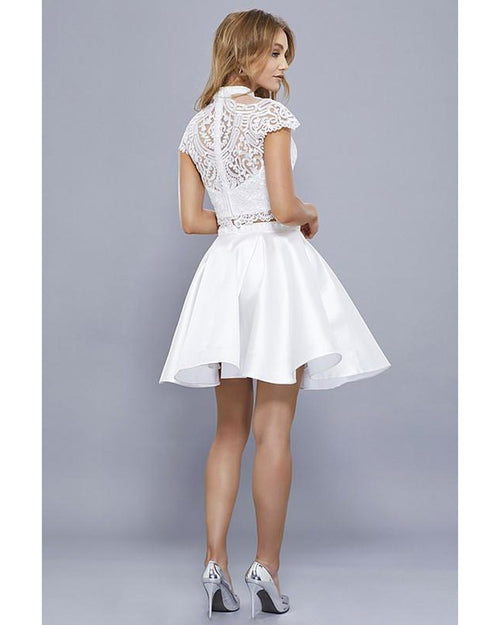White Two Piece with Cap Sleeve