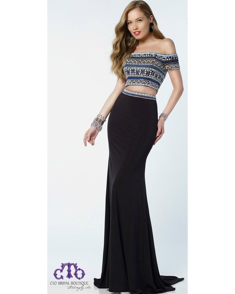 Black Multi Slim Jersey Skirt w/ Embellished Off the Shoulder