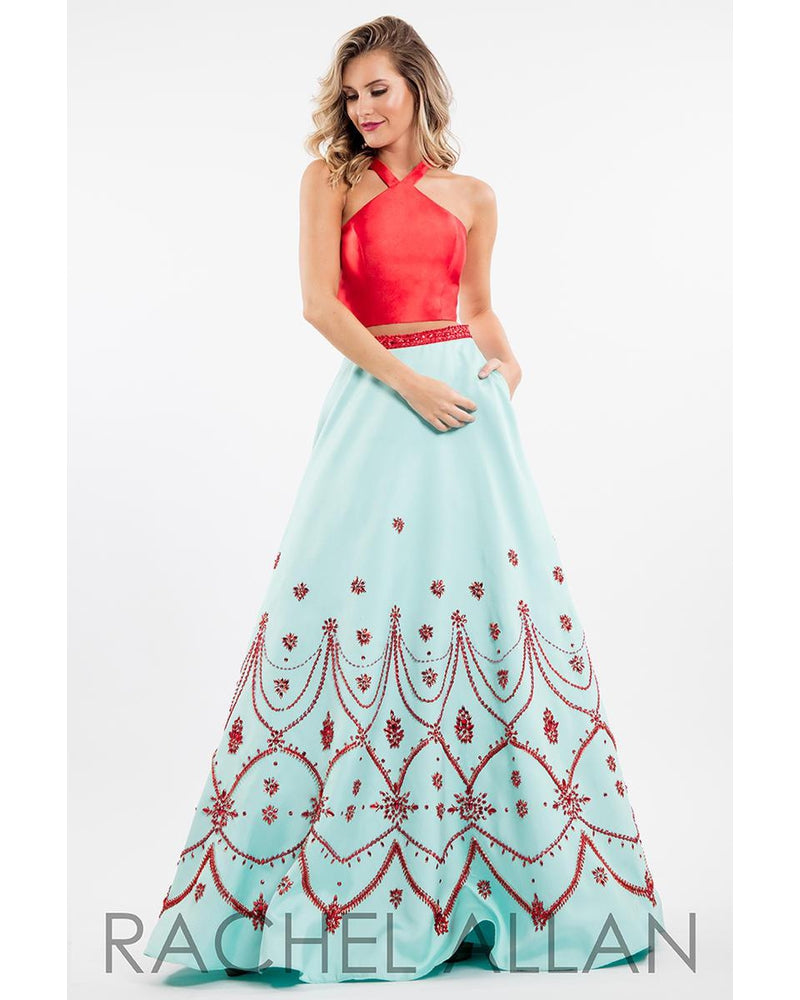 Red Mint Two Piece Long Dress