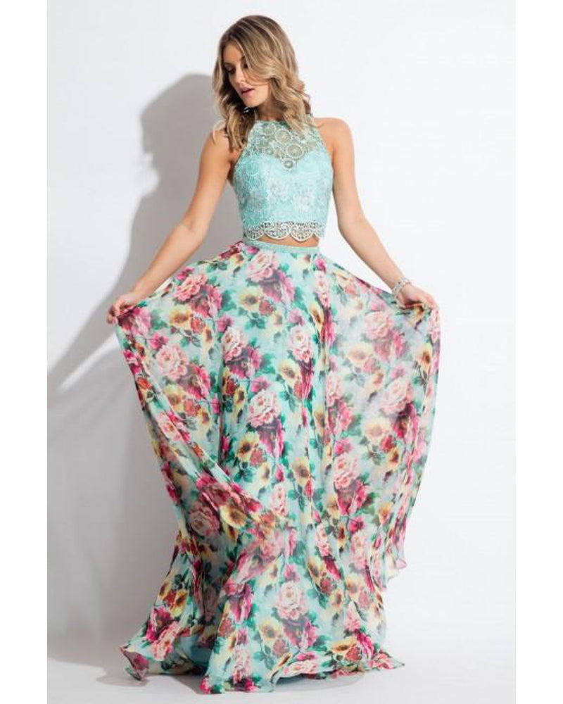 Mint Two Piece Floral Chiffon