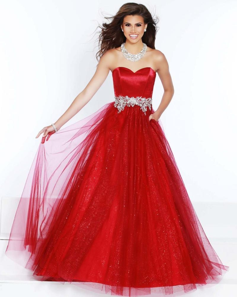 Wine Plus Size Strapless Ballgown