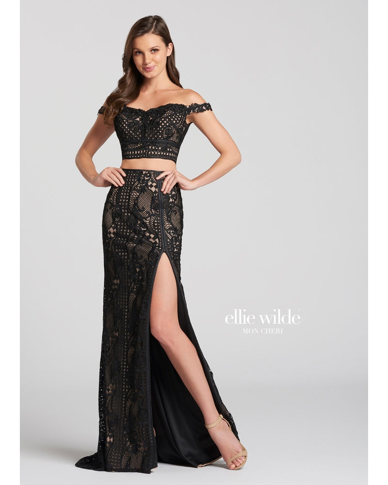 Black Off the Shoulder Lace Two Piece