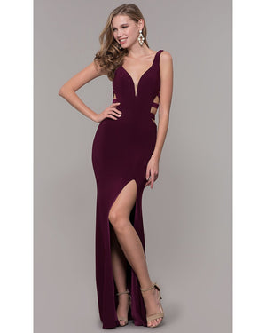 Wine V-Neck One Piece Jersey