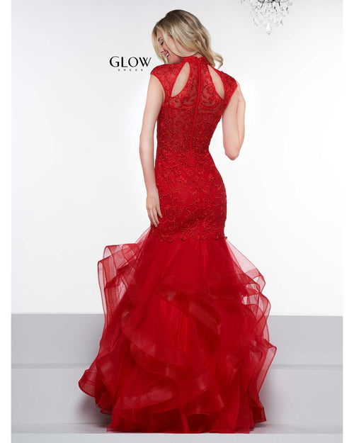Red Embroidered Gown with Cap Sleeves