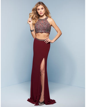Marsala Beaded Two Piece Jersey Dress