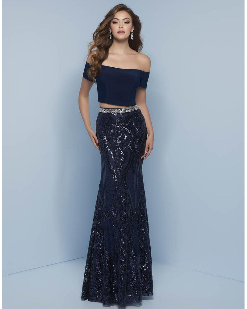 Navy Two Piece Sequin Dress