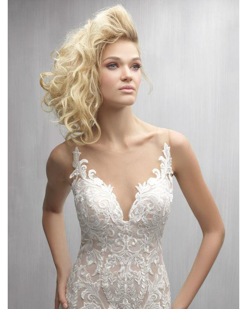 Ivory Illusion Back with Floral Appliques